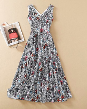 Printing spring pinched waist slim dress for women