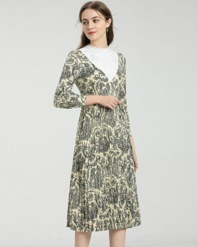 Round neck printing splice long spring and summer dress