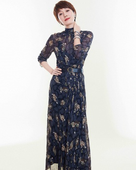 Elegant floral long dress split ladies dress