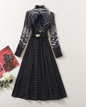 Single-breasted navy blue printing slim frenum dress