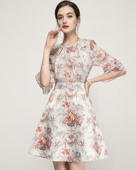 Spring and summer pinched waist T-back slim printing dress