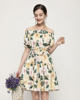 Yellow temperament lotus leaf edges slim dress