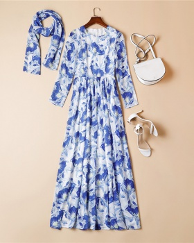 Seaside colors blue elegant ink pattern France style dress