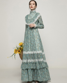 Temperament flowers lace long dress big skirt lady dress