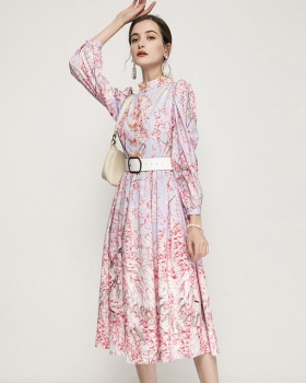 High waist pink printing cstand collar dress
