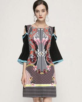 Long printing retro temperament dress for women