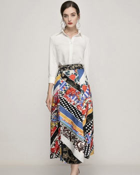 Printing geometry white tops light long shirt 2pcs set