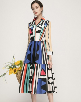 Slim lapel stripe long dress printing long sleeve shirt