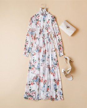 Lotus leaf edges printing long dress retro floral dress