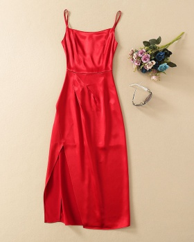 Temperament party sling ladies host red evening dress