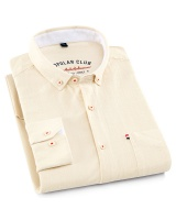 Breathable washed cotton spring long sleeve shirt for men