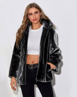 Thick winter waistcoat black European style fur coat