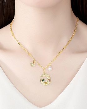 Fashion inlay zircon necklace personality clavicle necklace