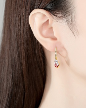 European style fashion earrings inlay zircon gold stud earrings