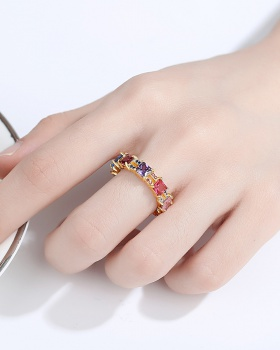 Inlay zircon personality fashion Punk style Korean style ring