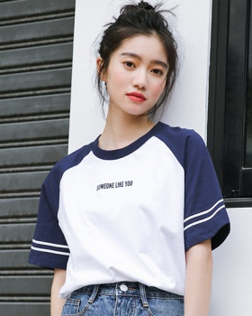 Loose summer stripe letters navy-blue T-shirt for women