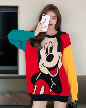 Mixed colors Korean style sweater long mickey tops for women