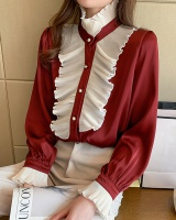 Long sleeve puff sleeve shirt spring satin tops for women