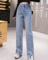 High waist slim straight wide leg loose spring jeans