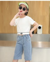 Short girl pure pants white summer cotton shirts a set