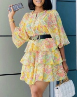Round neck floral dress short sleeve business suit