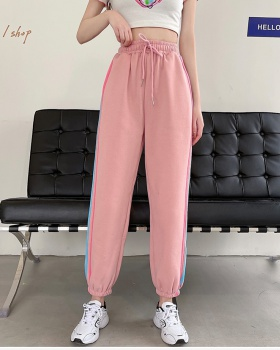 Thin loose college style sweatpants for women