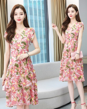 Slim summer floral chiffon cake dress for women