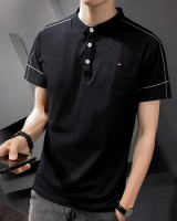 Lapel short sleeve embroidery loose shirts for men