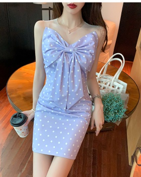 Pinched waist chest big bow polka dot dress