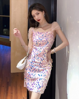 Embroidery splice dress gauze sequins formal dress