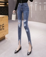 Holes spring and summer split navy-blue fashion slim jeans
