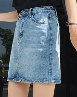 Washed simple retro short skirt large yard fat short jeans