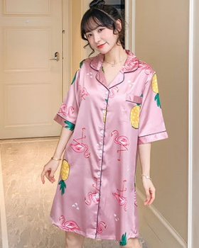 Ice silk pajamas spring and summer cardigan for women