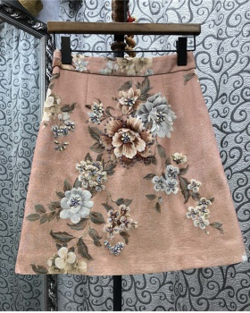 Embroidery flowers France style beading spring skirt for women