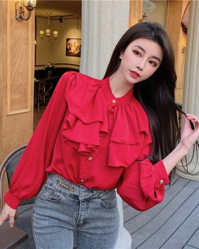 Long sleeve chiffon tops red France style shirt for women
