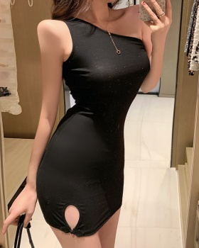 Strapless slim split package hip sexy dress