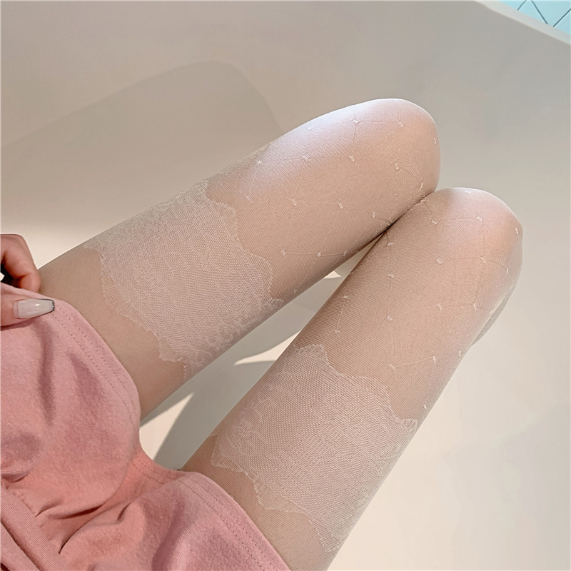 Wavelet point slim stockings lace jacquard tights