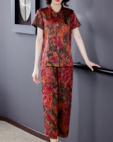 Real silk summer silk wide leg pants 2pcs set