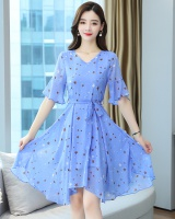 Light color summer chiffon floral lady dress