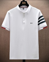 Stripe lapel shirts summer Japanese style T-shirt for men