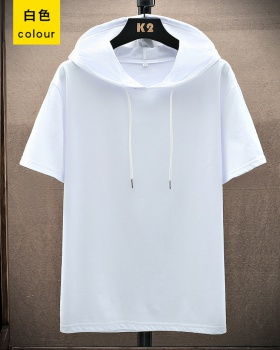 Summer pure T-shirt short sleeve thin hoodie for men