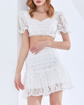 Light wrapped chest vest summer lace tops a set