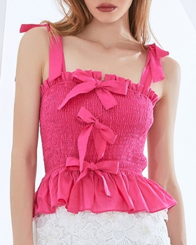Sexy summer elasticity bow halter pure vest for women