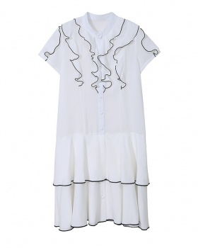 Korean style spring and summer simple dress chiffon white shirt
