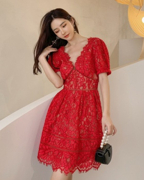 Lace pinched waist formal dress halter dress for women