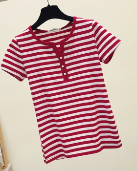 Slim stripe pure cotton tops all-match fashion T-shirt for women