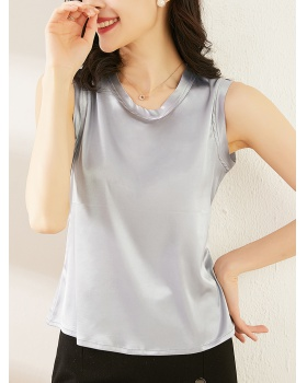 Slim pure summer tops satin pullover vest for women