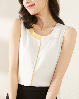 Real silk satin vest slim mixed colors T-shirt for women
