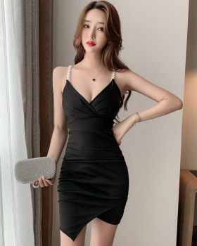 Sexy beading sling package hip irregular show chest dress