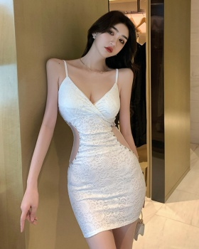 Sexy sling V-neck perspective slim beading dress